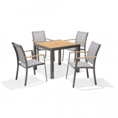 LifestyleGarden Salomon 4 Seat Square Table Dining Set