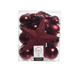 Kaemingk Shatterproof Mix Box Baubles With Tree Topper - Ox Blood Red