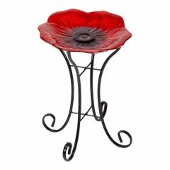Shimmering Poppy Glass Birdbath - Large