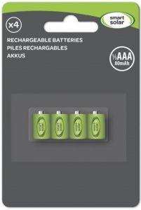 Smart Solar - Rechargeable Batteries - 1/3 AAA - 4 Pack