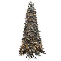 Puleo Snowy Yukon Pine Flocked Tree With 250 Warm White Mini Globe LEDs 7ft