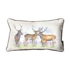 Kilburn & Scott Stag Watercolour Cushion - Mink 30x50cm