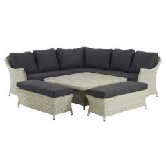 Chatsworth Modular Sofa Set With Square Adjustable Ceramic Table & 2 Benches