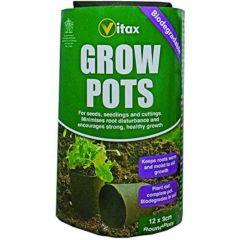 Vitax Grow Pots Round 9cm - 12 Pack