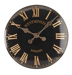 "Westminster Wall Clock Black 12"" - Smart Solar"