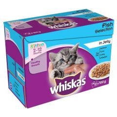 Whiskas 2-12 Months Kitten Fish Selection in Jelly  12 Pack