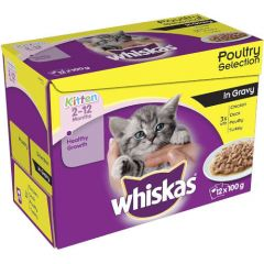 Whiskas 2-12 Months Kitten Poultry Selection in Jelly 12 Pack