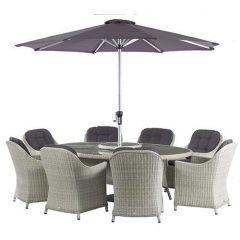 Bramblecrest Monterey 220 x 145cm Elliptical Table with 8 Armchairs, Lazy Susan, Parasol & Base