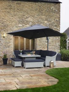 Chatsworth Modular Sofa Set With Square Ceramic Firepit Table & 2 Benches