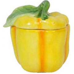 Gisella Graham Yellow Ceramic Pepper Pot with Lid
