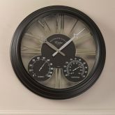 """Exeter Wall Clock & Thermometer 15"""" -  Black"""