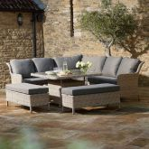 Blenheim Modular Sofa with Square Adjustable Casual Dining Table & 2 Benches - Bramblecrest