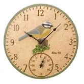 """Blue Tit Wall Clock & Thermometer 12"""""""