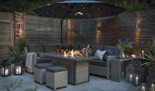 Kettler Palma Corner Set With Firepit Table - Whitewash