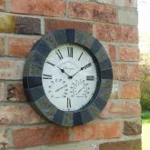 """Stonegate Wall Clock & thermometer 14"""" - Smart Solar"""