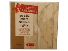 Micro String Lights 20 Warm White LED's - 1.9M