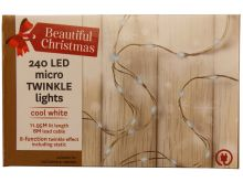 240 Cool White LED Micro Twinkle Lights - 11.95M