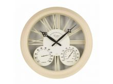 """Exeter Wall Clock & Thermometer 15"""" - Cream"""
