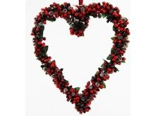 Hanging Heart Berry Bud Red Burgandy - 26cm