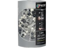 Black & White Beaded Garland - 20 Warm White LEDs - 1.8M