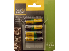 Cole & Bright Rechargeable Batteries - 1/3 AAA - 8 Pack