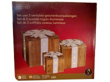 LED Wooden Giftbox Warm White - 3 Pack