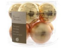 Glass Bauble Shiny Matt & Light Gold - 7CM - Pack of 8