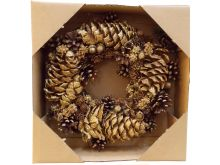 Golden Mixed Cone Wreath - 30CM