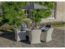 Monterey 175 x 120cm Elliptical Table with 6 Armchairs, Parasol & Base - Bramblecrest