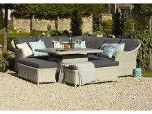 Monterey Modular Sofa with Square Ceramic Casual Dining Table with Firepit & 2 Benches - Bramblecrest