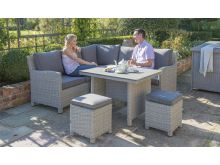 Kettler Palma Mini Corner Set - White Wash With Slat Table