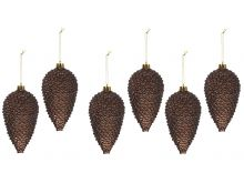 Shatterproof Glitter Pinecone Decorations - Dark Chocolate - 4.5X8CM - 6PK