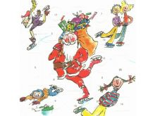 Advent Calendar Card - Quentin Blake Skating Santa