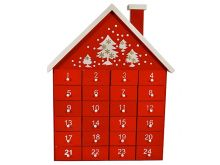 Red Wooden House Advent Calendar - 35X28CM