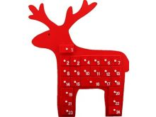 Red Wooden Reindeer Advent Calendar - 40X34CM