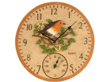 Robin Wall Clock & Thermometer 12""