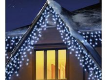 480 LED Snowing Icicles With Timer - White