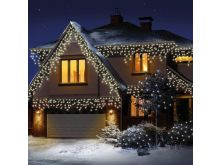 240 LED Snowing Icicles With Timer - Warm White