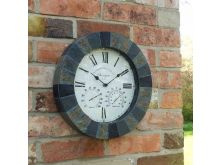 "Stonegate Wall Clock & thermometer 14"" - Smart Solar"