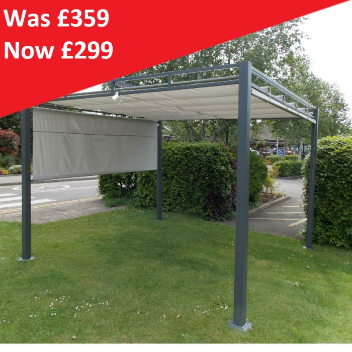 3x3m Steel Pergola with Roller Blind Side Walls